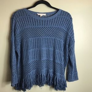 Love Stitch Open Weave Knit Fringe Sweater